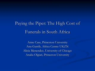 Paying the Piper: The High Cost of Funerals in South Africa
