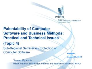 Patentability of Computer Software and Business Methods:  Practical and Technical Issues Topic 4 Sub-Regional Seminar on