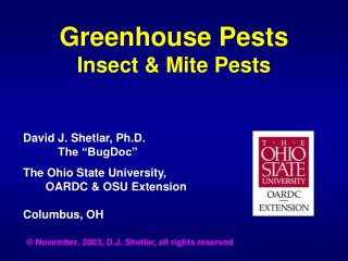 Greenhouse Pests Insect  Mite Pests