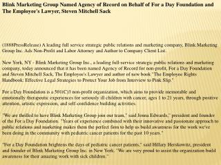 Blink Marketing Group Named Agency of Record on Behalf of Fo