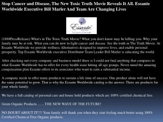 stop cancer and disease, the new toxic truth movie reveals i