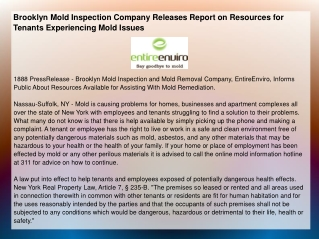 Brooklyn Mold Inspection Company Releases Report on Resource