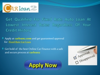 Fixed Interest Rate Car Loans