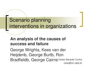 Scenario planning interventions in organizations