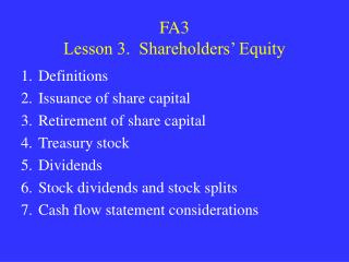 FA3 Lesson 3.  Shareholders  Equity