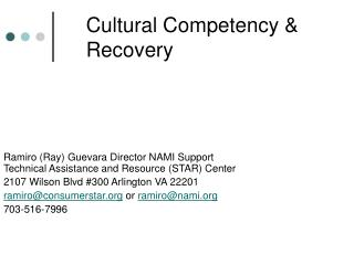 Cultural Competency  Recovery