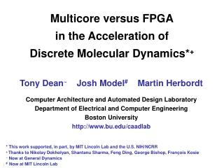 Multicore versus FPGA in the Acceleration of Discrete Molecular Dynamics