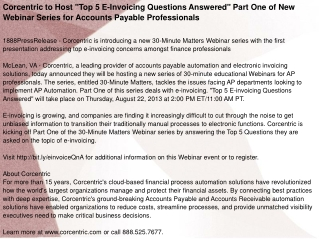 "Corcentric to Host ""Top 5 E-Invoicing Questions Answered"""