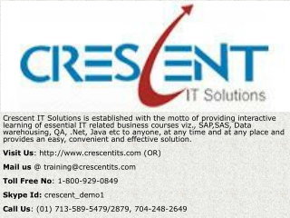 Crescent IT Solutions Received Valuable Feedback on QA Cours