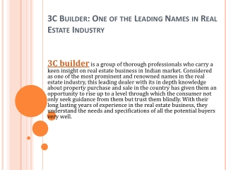 3C Builder: One of the Leading Names in Real Estate Industry