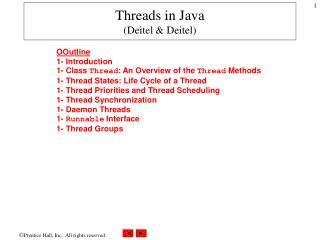 Threads in Java Deitel  Deitel