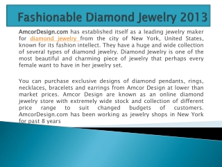 Fashionable Diamond Jewelry 2013