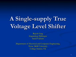 A Single-supply True Voltage Level Shifter