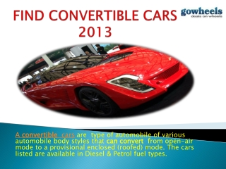 Find Convertibles Cars 2013-Gowheels.com