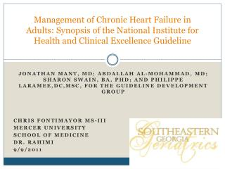 Management of Chronic Heart Failure in Adults: Synopsis of the National Institute for Health and Clinical Excellence Gui