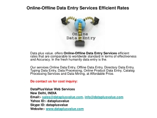 Online-Offline Data Entry Services Efficient Rates
