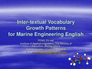 Inter-textual Vocabulary Growth Patterns  for Marine Engineering English