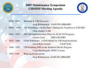 2005 Maintenance Symposium UID