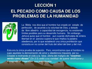 LECCI N 1 EL PECADO COMO CAUSA DE LOS PROBLEMAS DE LA HUMANIDAD