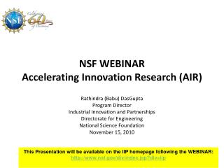 NSF WEBINAR Accelerating Innovation Research AIR