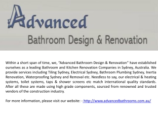 Corporate Profile of Advanced Bathroom