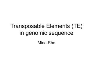 Transposable Elements TE in genomic sequence