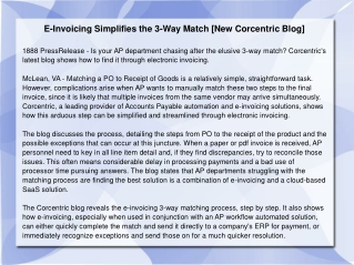 E-Invoicing Simplifies the 3-Way Match [New Corcentric Blog]