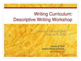 Writing Curriculum: Descriptive Writing Workshop