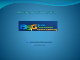 The first hand advantages of online marketing