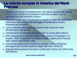 Le colonie europee in America del Nord: Francesi