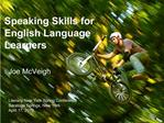 Speaking Skills for English Language Learners