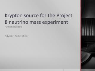 Krypton source for the Project 8 neutrino mass experiment