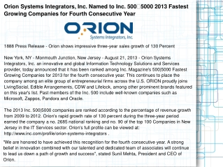 Orion Systems Integrators, Inc. Named to Inc. 5005000 2013