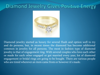 Diamond Jewelry Gives Positive Energy Says Amcor Design