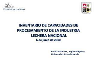 INVENTARIO DE CAPACIDADES DE PROCESAMIENTO DE LA INDUSTRIA  LECHERA NACIONAL 6 de junio de 2010