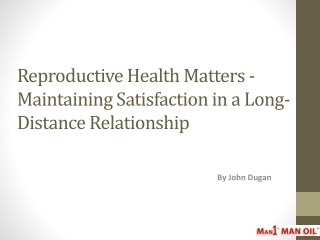 Reproductive Health Matters - Maintaining Satisfaction