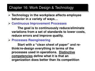 Chapter 16: Work Design  Technology