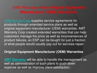 AMT Warranty Offers Original Equipment Manufacturer (OEM) Wa