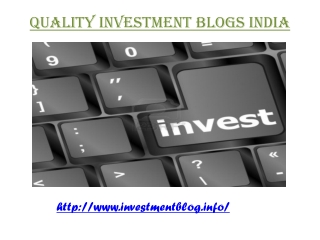 Quality Investment Blogs India
