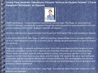 Saving Face: Aesthetic VideoSource Presents Tecnicas de