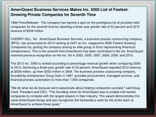 AmeriQuest Business Services Makes Inc. 5000 List of Fastest