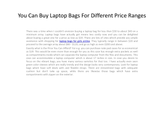 You Can Buy Laptop Bags For Different Price
