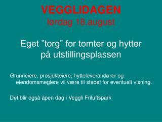 VEGGLIDAGEN l rdag 18.august  Eget  torg  for tomter og hytter  p  utstillingsplassen