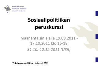 Sosiaalipolitiikan peruskurssi