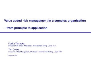 Value added risk management in a complex organisation     from principle to application