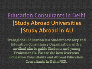 Study Abroad Universities | Overseas Education Consultants