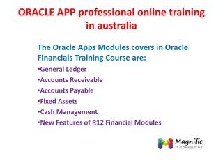 ORACLE APP professional online training in australia
