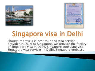 Singapore visa in Delhi