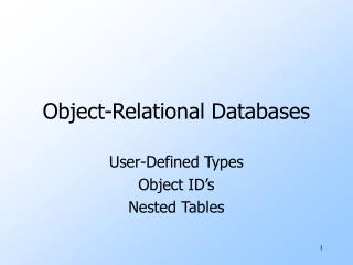 Object-Relational Databases