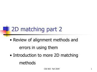 2D matching part 2